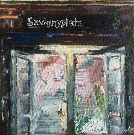 S Bhf Aufgang Savignyplatz  .  20 x 20 cm  .   Öl- und Acrylmalerei auf Baumwollgewebe . 2016   .
