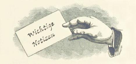 Handzettel Wichtige Notizen mit Hand - Zeichnung
