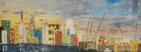 Hafen, Kräne, Beladung, City am Hafen
