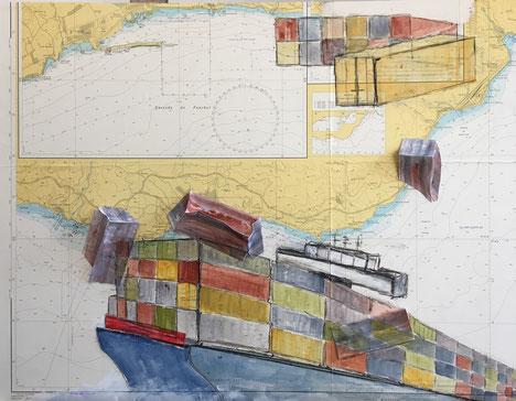 Cargoschiff, Container, Seekarte, Containerunfall