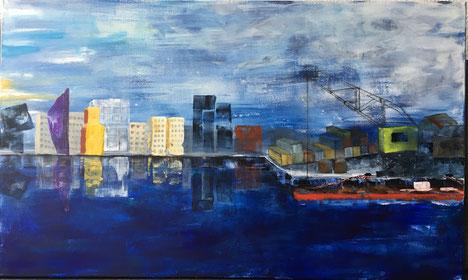 Hafen, grüner Kran, Skyline, blau, Beladung von Frachtschiff