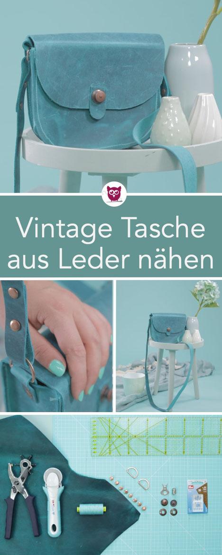#VintageBagVictoria aus dem #DIYeuleBuch : kleine runde Vinatge Tasche aus echtem Leder nähen – Pull-Leder in Petrol und Loxx Verschluss mit Buchschrauben in Kupfer. Nähanleitung von DIY Eule.