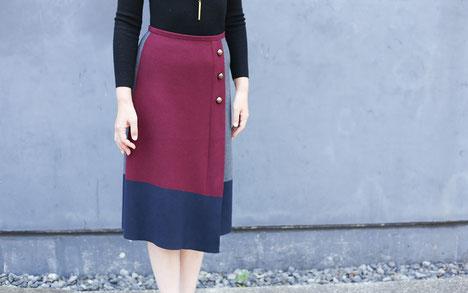 DoCLASSE カラーブロック・ラップ風ニットスカート モデル 箱崎知子 ジョワーヌ東京