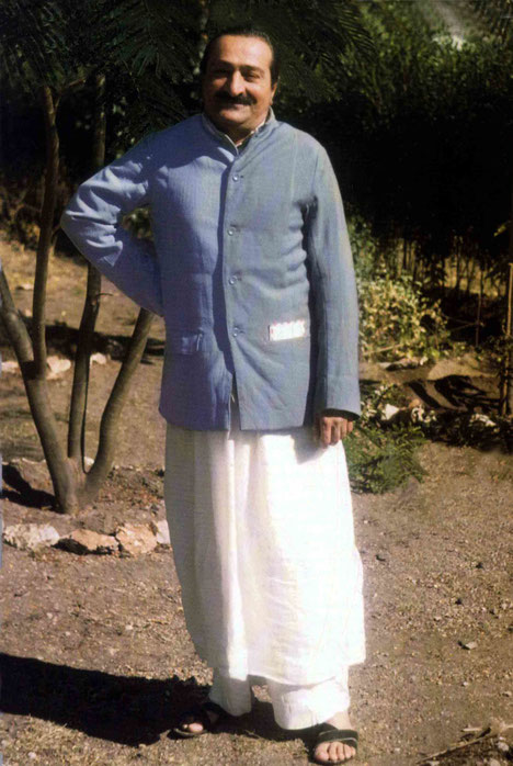 1948 ; Meher Baba in the garden at Meherazad, India. Photo taken bt Charmian ( Duce ) Knowles. Courtesy of Glow International magazine - summer 2009