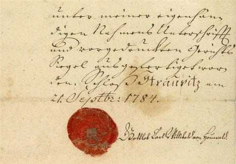 Originalurkunde G. C. Wilibald v. Houwald.