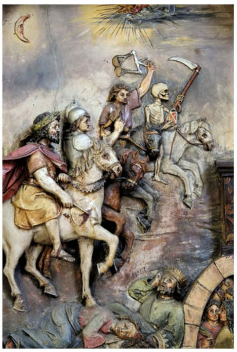 Au moment où l'Agneau ouvre un des 7 sceaux, Jean entend l'un des 4 êtres vivants dire d'une voix de tonnerre,  puissante et éclatante: Viens! L'ouverture du 1er sceau marque le début de la chevauchée des 4 cavaliers de l'Apocalypse.