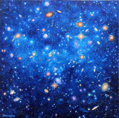 Galaxien und Sterne, Sternbild Fornax, Weltall, Sternbild Chemischer Ofen, Öl-Acryltechnik