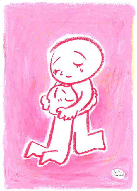 ピンクの背景で母と子の抱き合うイラスト 茶谷順子作