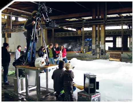 """""""Werbespot Super RTL"""" (Köln), Indoor-Schneeproduktion für Werbespot-Trailerproduktion"""