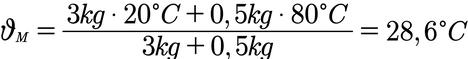 Beispielaufgabe zur Berechnung der Mischtemperatur