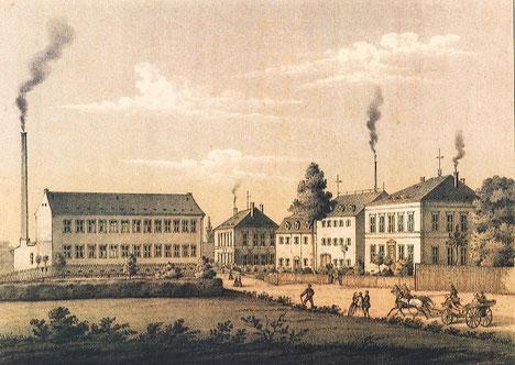 Strumpffabrik R. Esche in Limbach, ca. 1860 (Quelle: TU-Chemnitz.de)