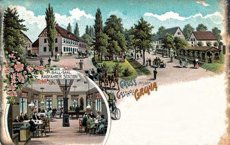 Der Gasthof Gruna etwas später als 1850