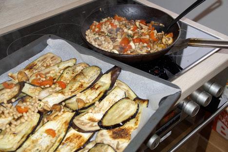 Regionalsport Hazel an Hazel go vegan Umstellung sichtbare Veränderungen Champignon Bohnen Tomaten Ragout Auberginen Pfanne reine Haut Allergiefrei
