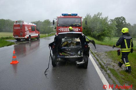 Feuerwehr, Blaulicht, FF Andorf, Verkehrsunfall, B137, Teuflau, Mopedauto, Bremsmanöver