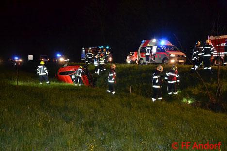 Feuerwehr, Blaulicht, Verkehrsunfall, B137, Kollision mit Reh, FF Andorf