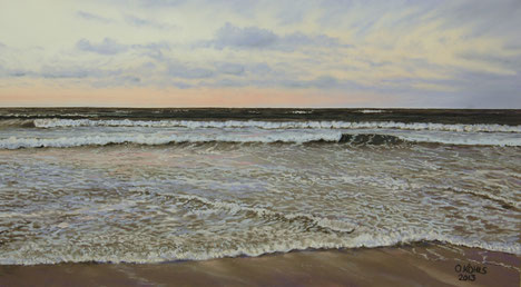 Evening Light Baltic Sea, Pastel on Pastelmat, 40x70cm, 2012, Private Collection
