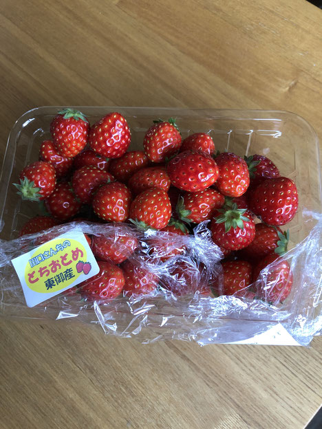 2月26日購入の「田口さんのいちご」複数の直売所で見たので人気ブランドらしい。実際おいしい。密度の濃い元気な味。