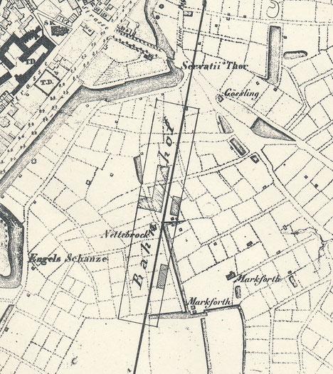 Mangerplan 1839 - Der Bahnhof wurde nachträglich eingezeichnet. - 6222.284.15
