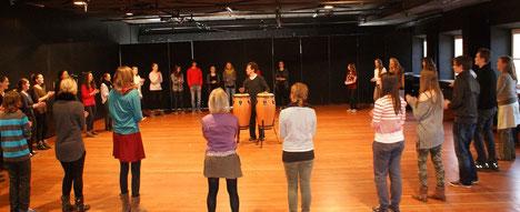 Bodypercussion Schnupperstunde am Berufsorientierungstag 2014 Bayerische Theaterakademie/Prinzregententheater
