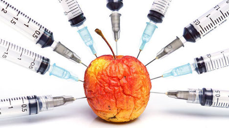 Harmful chemicals being injected into an apple