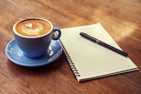 Cafe Kaffee Notizen Block Morgenroutine