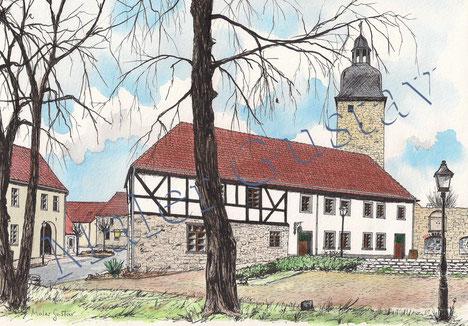 Das Museum von Trappenland mit dem Eulenturm im Hintergrund.