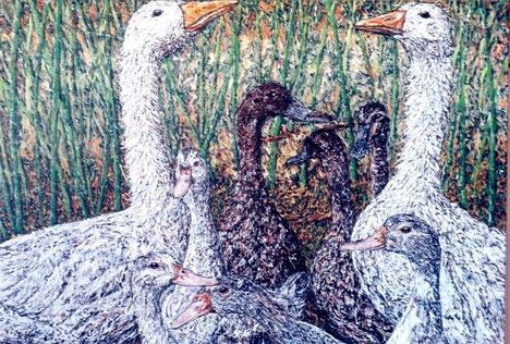 Les Oies, huile sur toile, 55 x 46cm