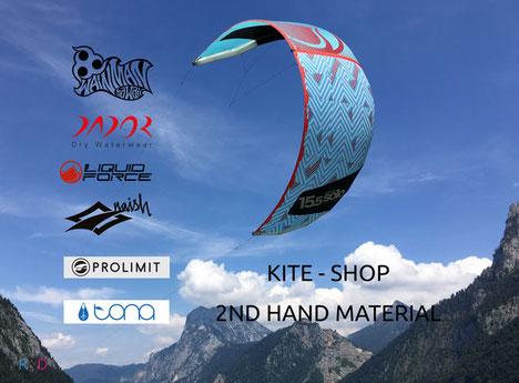 Liquid Force Kite und Labels von Wainman Hawaii Dador Naish Prolimit und tona im Kiteshop oder als gebrauchtes Kite Material