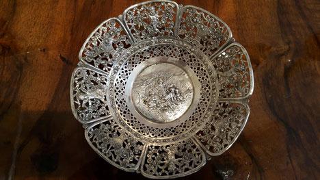 Durchbrochene Schale rund 800er Silber