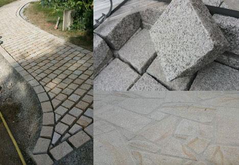 aménagement extérieur pavé granit et opus incertum granit