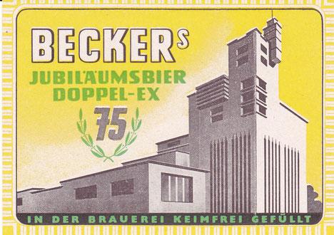 Bieretikett Becker Brauerei St.Ingbert