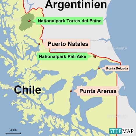 Bild: Karte Südchile