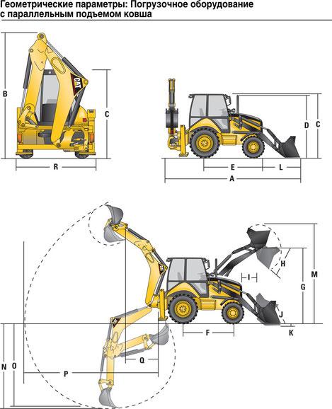Caterpillar 428 E геометрические параметры
