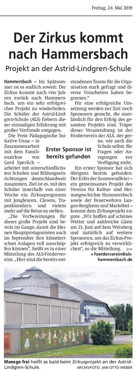 Hanauer Anzeiger vom 24.5.2019 / Mit freundlicher Erlaubnis des Hanauer Anzeiger; vielen Dank!