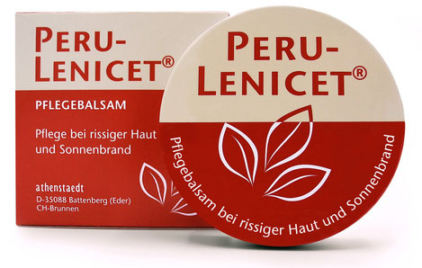 Perulenicet Pflegecreme Pflegebalsam für die gereizte Haut. Bild von Schachtel und Dose