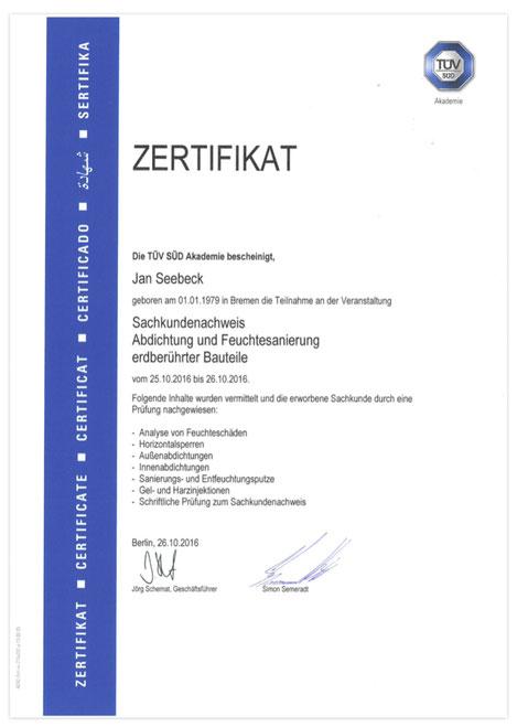 TÜV Zertifikat Feuchtesanierung & Bauwerksabdichtung