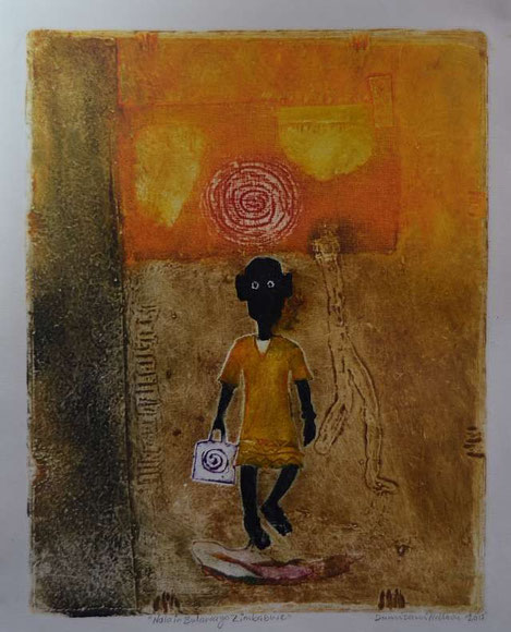 NALA buys cheese, Collagraphy (37cm x 29cm) by Dumisani Ndlovu, Bulawayo / Zimbabwe
