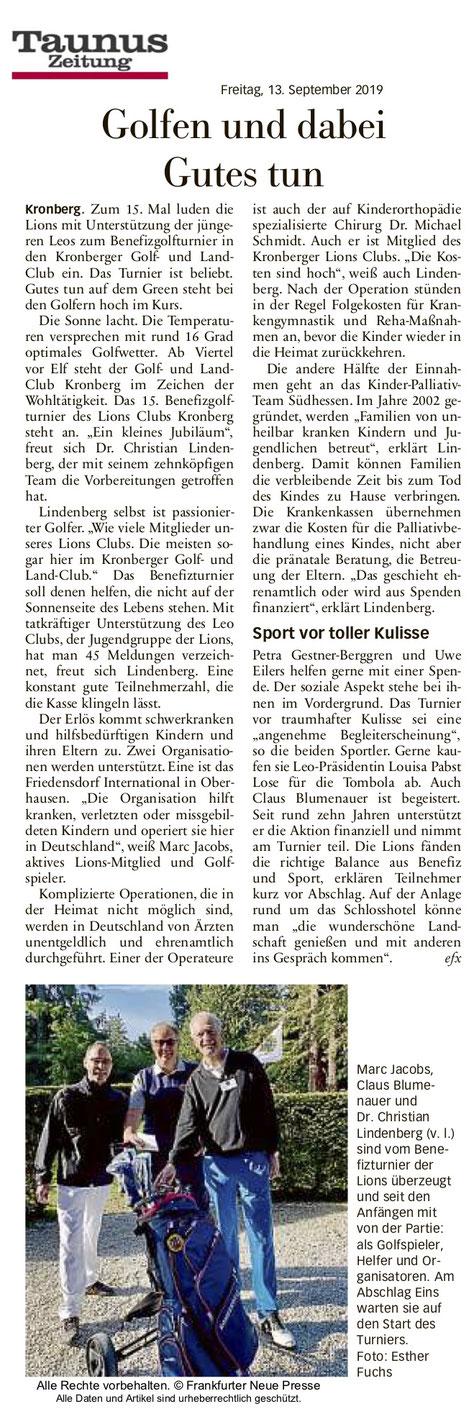 Taunus Zeitung Artikel Golfen und dabei Gutes tun - Lions Kronberg