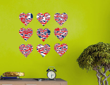 Nine Union Jack Flag love hearts wall art stickers printed in traditional clours. Wall art vinyl decals from www.wallartcompany.co.uk