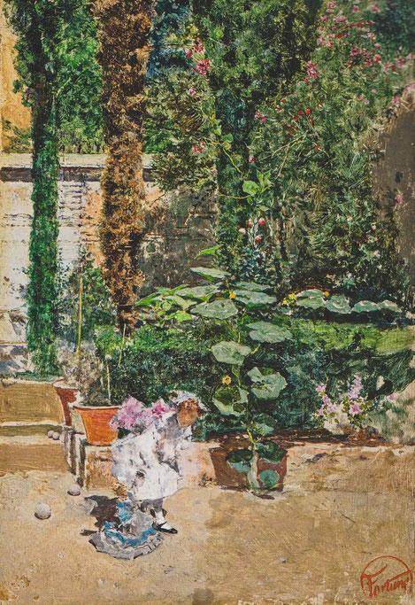Maria Luisa hija del artista, en el jardín de la casa de Fortuny en Granada 1872.Óleo sobre tabla 19x13cm.Colección Vida Muñoz. En Nov.1871 Fortuny y su familia alquilaron una casa en el Realejo Bajo,la casa tenía un hermoso jardín con plantas y flores..