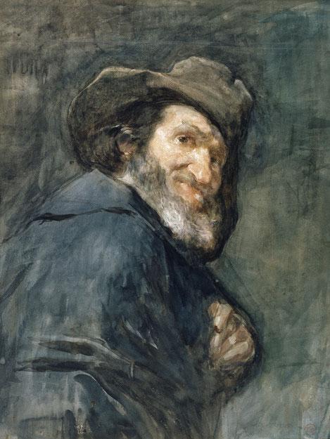 Menipo,detalle de una copia a Velázquez.1866.Acuarela y guache sobre papel. Museo de Arte de Friburgo. Estas acuarelas son muestra que reccorió las salas del Prado con sumo interés por los genios como Velázquez, Goya..