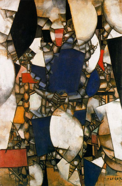 Fernand Léger,la mujer de azul,1912.Cubista con inicios impresionistas,su obra de formas claras y brillantes,se asemejan a la máquina urbana.Es la sensación de ser engullido por el funcionamiento imparable de un mundo engrasado.