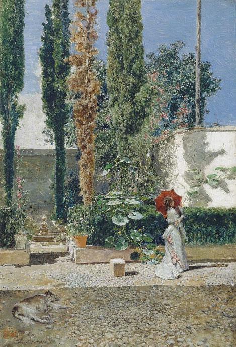 Jardín de la casa de Fortuny.Óleo sobre tabla 40x28cm.Museo Nacional del Prado. Instalado al pie de la Alhambra trabajaba en su jardín rodeado de columnas al aire libre,con mucha luz, plantas y flores..