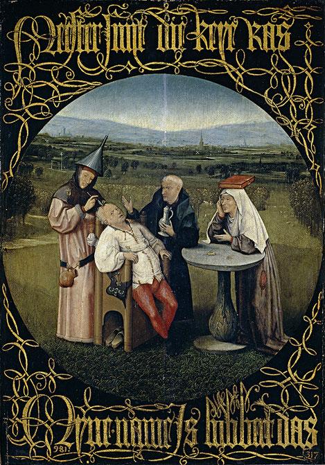 """La extracción de la piedra de la locura,1501.Sitúa la necedad, esta vez en el mundo rural.La tradición popular asociaba la locura a una piedra alojada en el cerebro,tomando la metáfora en sentido estricto,reza la cartela en letra gótica""""Maestro quítamela"""""""