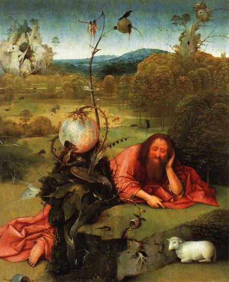 Óleo sobre tabla de roble,48x40cm. San Juan Bautista medita en soledad mientras señala la imagen del Cordero de Dios.El resto de los símbolos  recrean las fuerzas diabólicas que someten al hombre.La salamandra, el cuervo y oso,son la pereza.