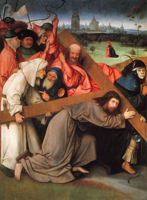 Óleo sobre tabla de roble,142x104cmbado por el peso de la cruz en forma de tau.Abre la marcha un soldado caricaturesco,detrás un esbirro azota a Cristo,a las espaldas de Jesús, Simone de Cirene.La comitiva alborotada se abre paso mientras al fondo, María.