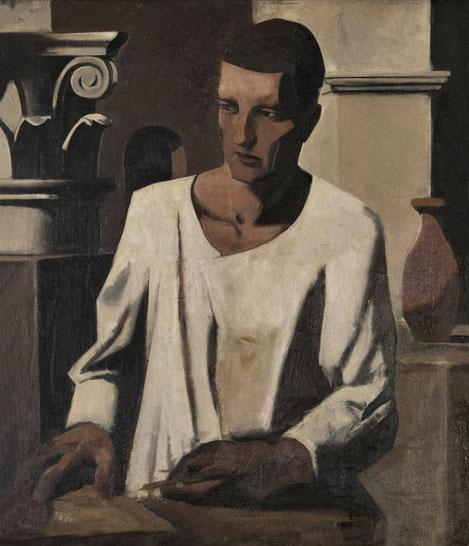 Mario Sironi,el arquitecto 1922.Colección particular. Imagen paradigmática del artista,capitel corintio en claroscuro,dedos esbozados con una paleta veloz que en otros puntos es cortante.