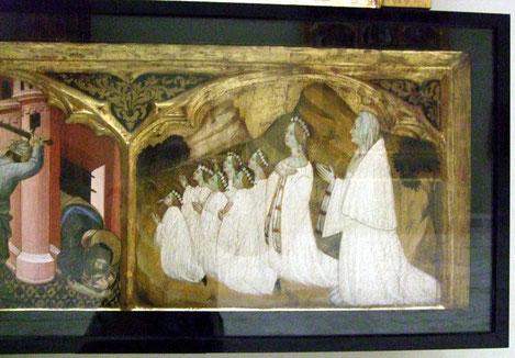 Starnina..Museo de Bellas Artes de Valencia.. Jaumeta Despont aparece con sus 7 hijas del matrimonio con Bonifacio Ferrer que aparece con hábito cartujo y sus dos hijos varones a la izquierta.