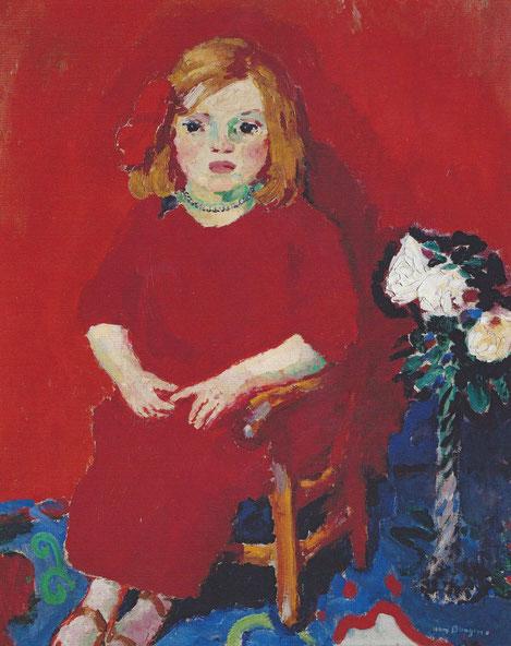 Kees van Dongen,Niña con vestido rojo 1909.Retrato de Dolly hija del pintor, aparece seria y tímida, inundada por el color rojo.