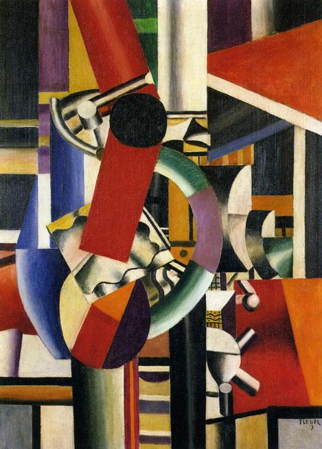 Fernand Léger (1881-1955) Naturaleza muerta. Los avances industriales, el enfrentamiento bélico y el comienzo de la vida moderna obsesionaba al autor. El protagonismo absoluto de las líneas y formas geométricas inspiradas en la industria del aluminio.